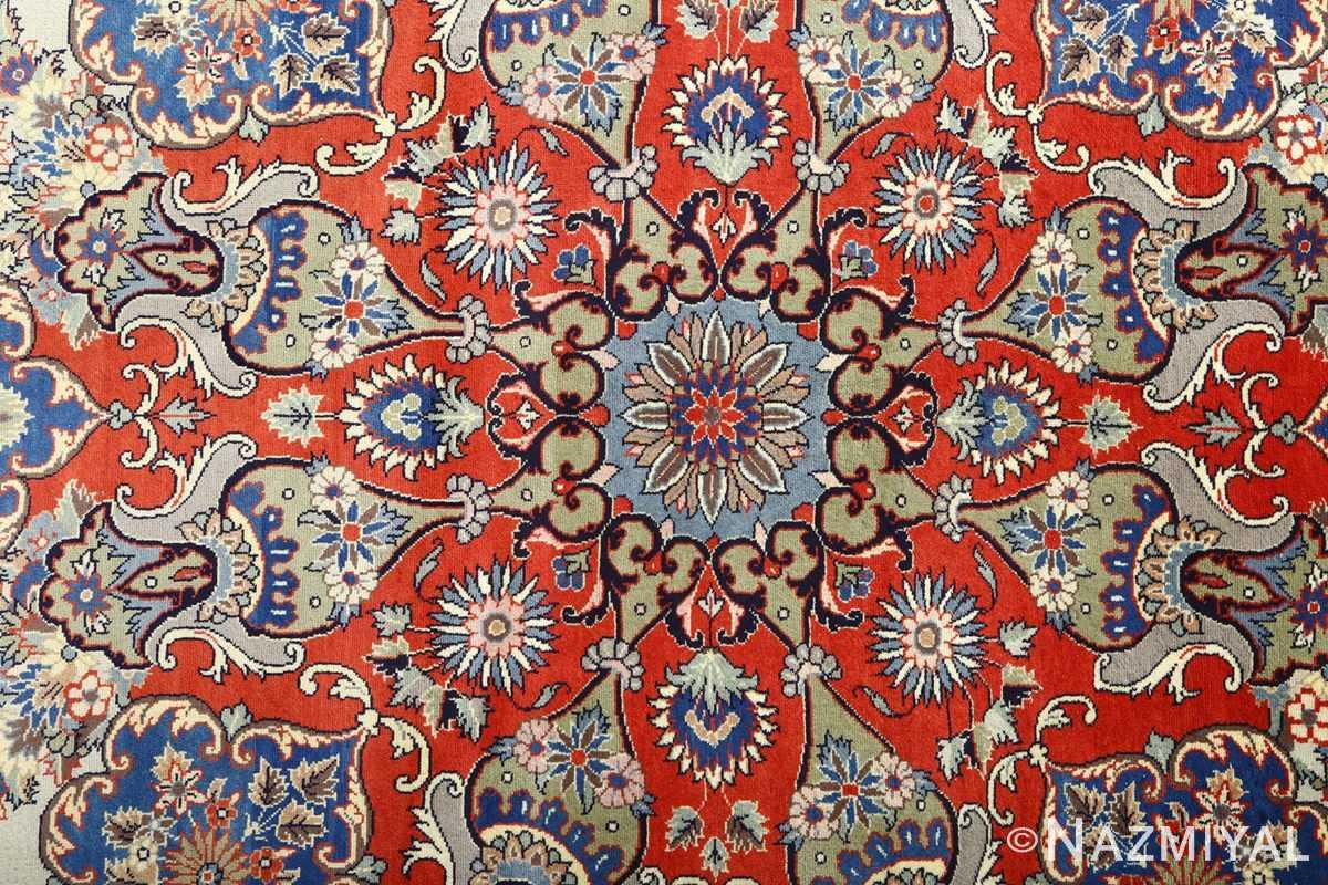 vintage light blue qum persian rug 51062 center Nazmiyal
