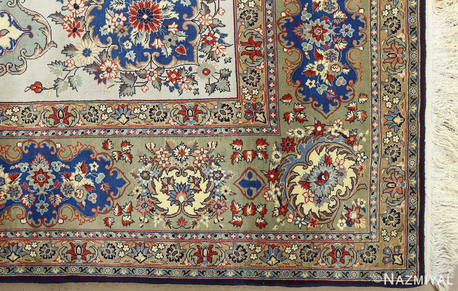 vintage light blue qum persian rug 51062 corner Nazmiyal