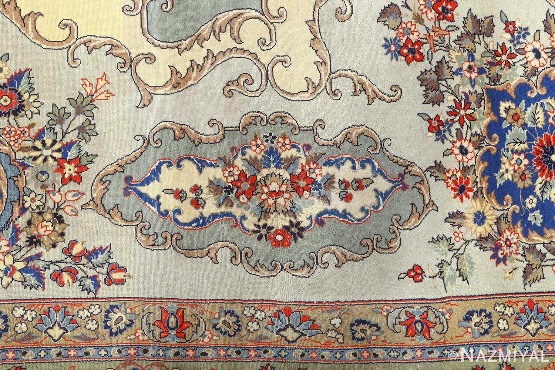 vintage light blue qum persian rug 51062 design Nazmiyal