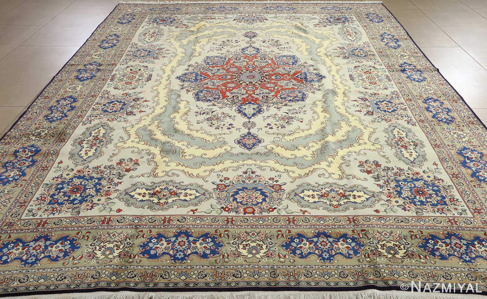 vintage light blue qum persian rug 51062 full Nazmiyal