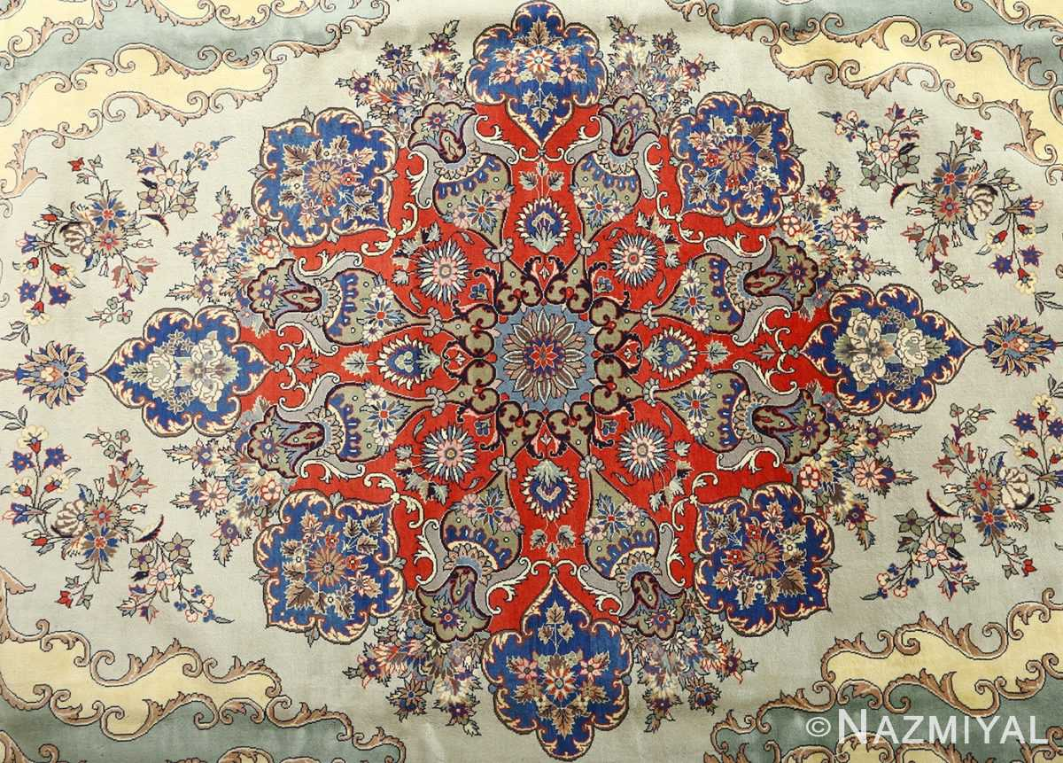 vintage light blue qum persian rug 51062 medallion Nazmiyal