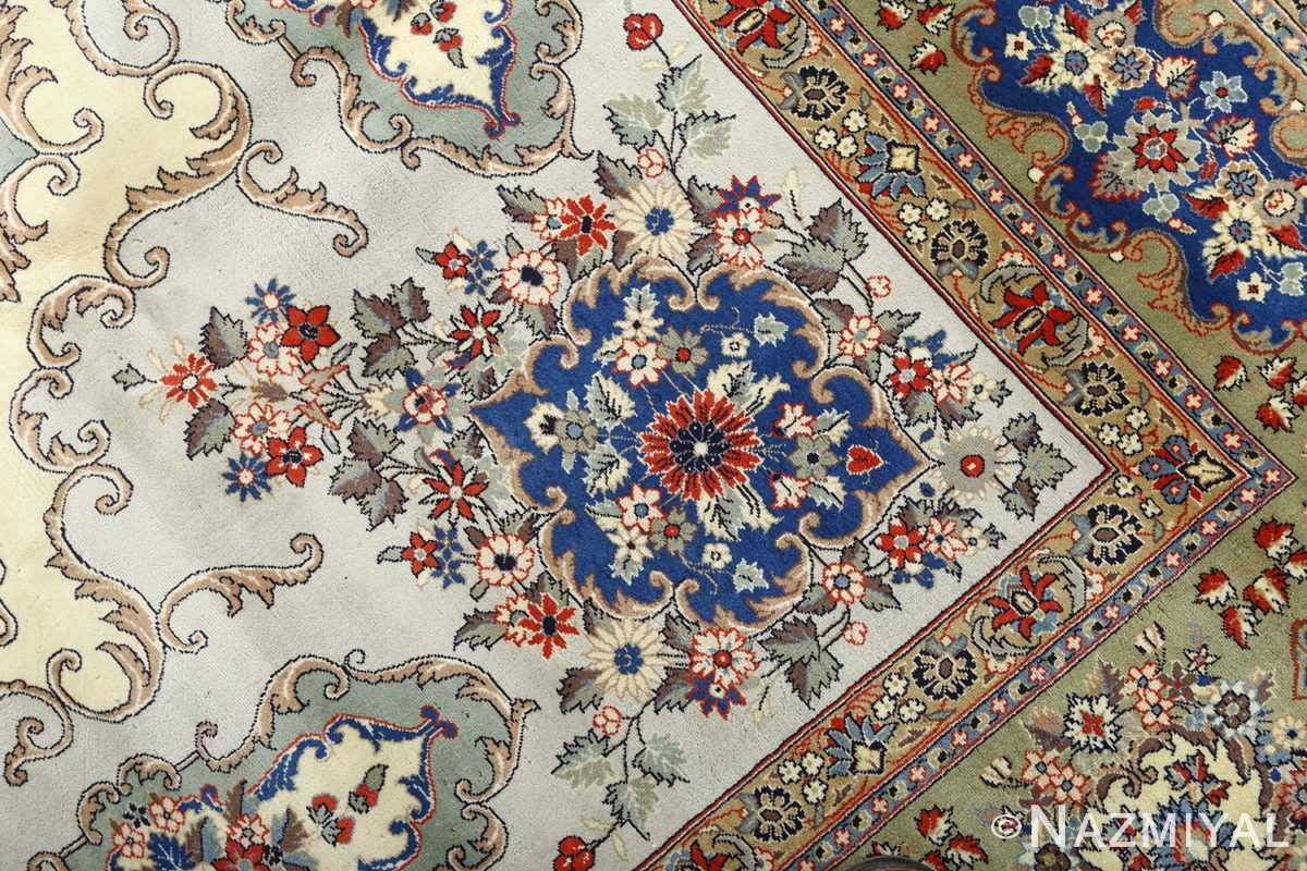 vintage light blue qum persian rug 51062 peony Nazmiyal