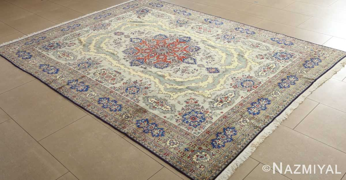 vintage light blue qum persian rug 51062 side Nazmiyal