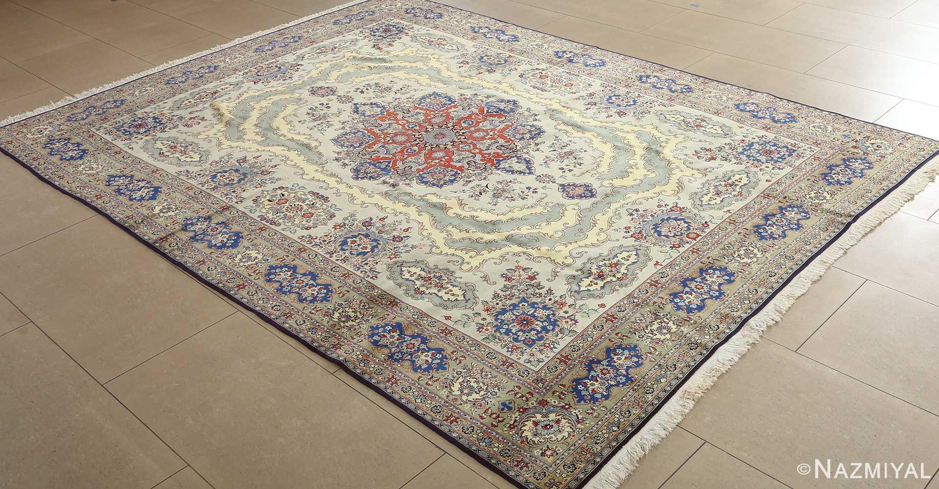 vintage light blue qum persian rug 51062 side Nazmiyal