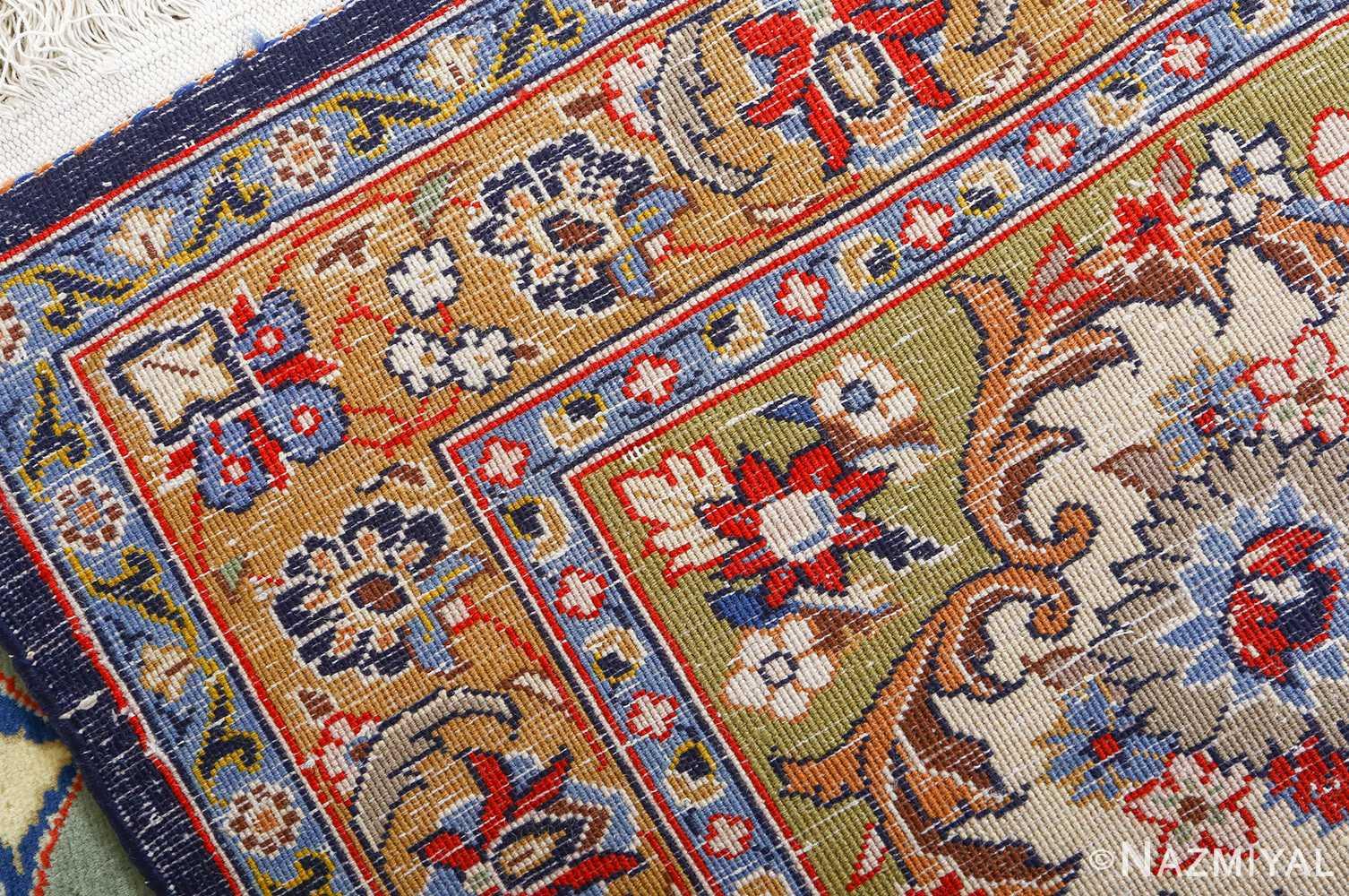 vintage light blue qum persian rug 51062 weave Nazmiyal