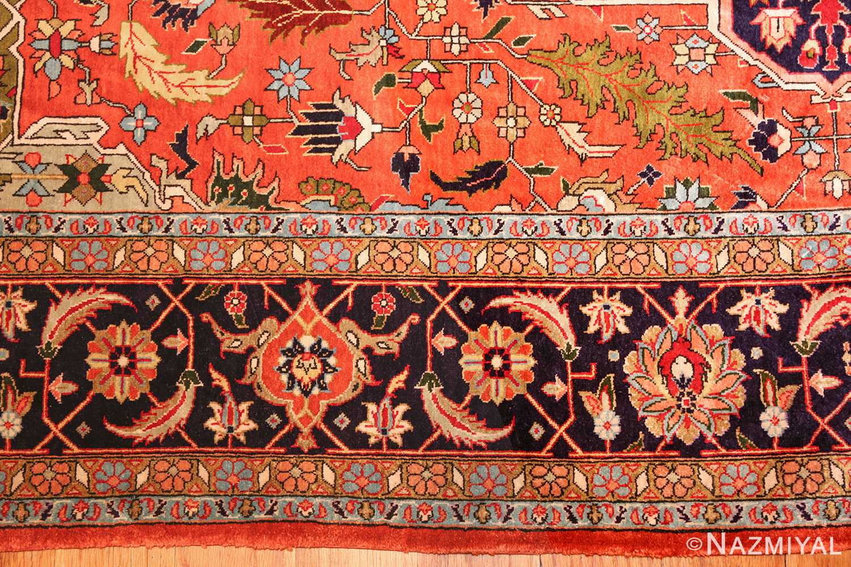 vintage silk heriz persian rug 49248 border Nazmiyal