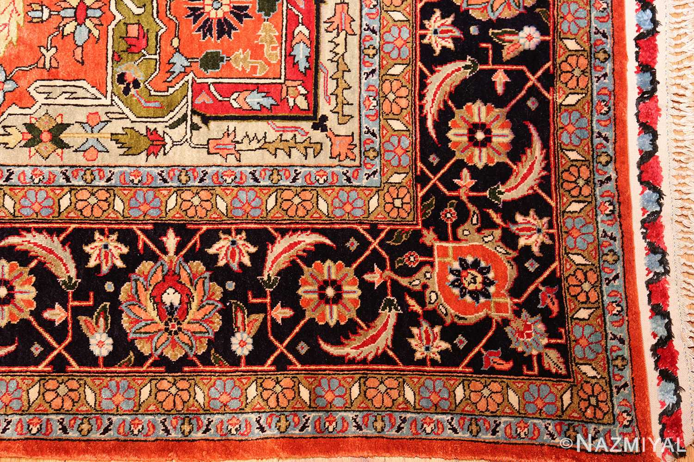 vintage silk heriz persian rug 49248 corner Nazmiyal
