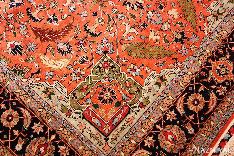 vintage silk heriz persian rug 49248 design Nazmiyal