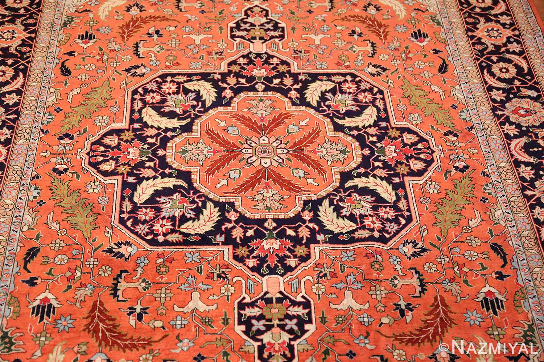 vintage silk heriz persian rug 49248 medallion Nazmiyal