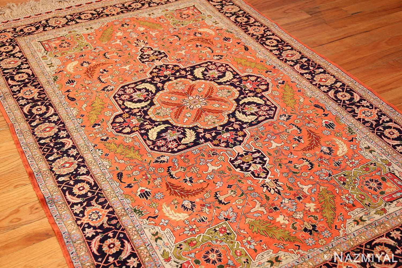 vintage silk heriz persian rug 49248 side Nazmiyal