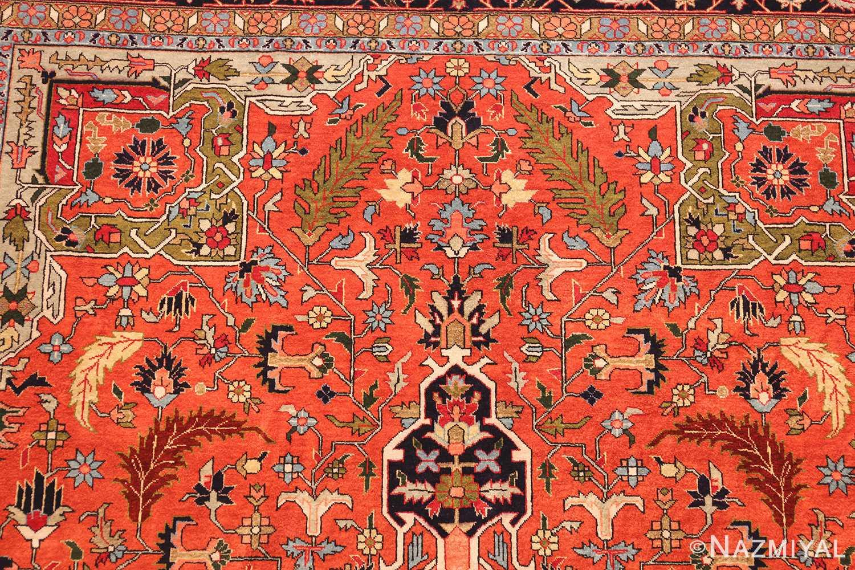 vintage silk heriz persian rug 49248 top Nazmiyal