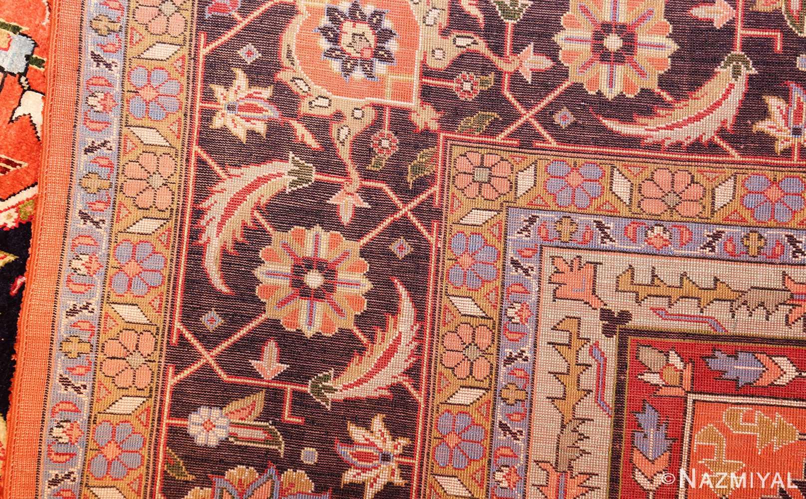 vintage silk heriz persian rug 49248 weave Nazmiyal