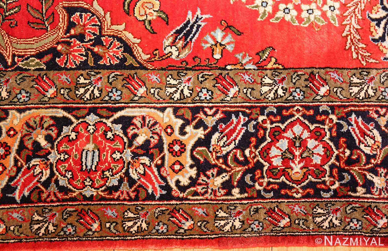 vintage silk qum persian rug 49247 border Nazmiyal