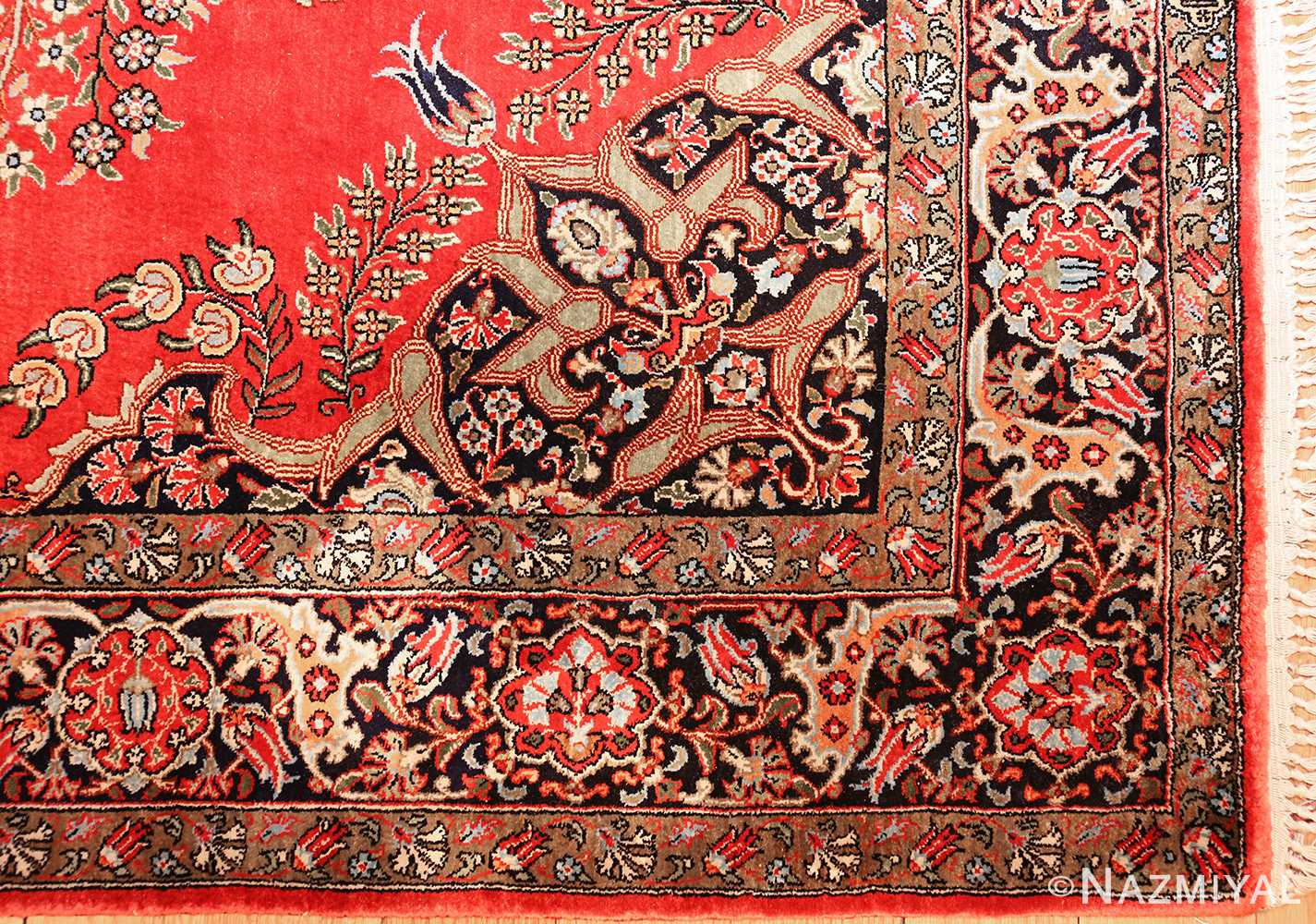 vintage silk qum persian rug 49247 corner Nazmiyal