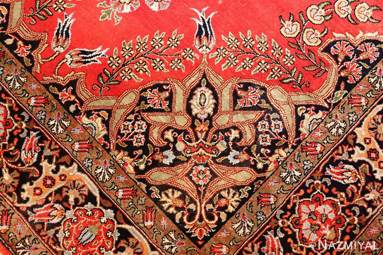 vintage silk qum persian rug 49247 design Nazmiyal