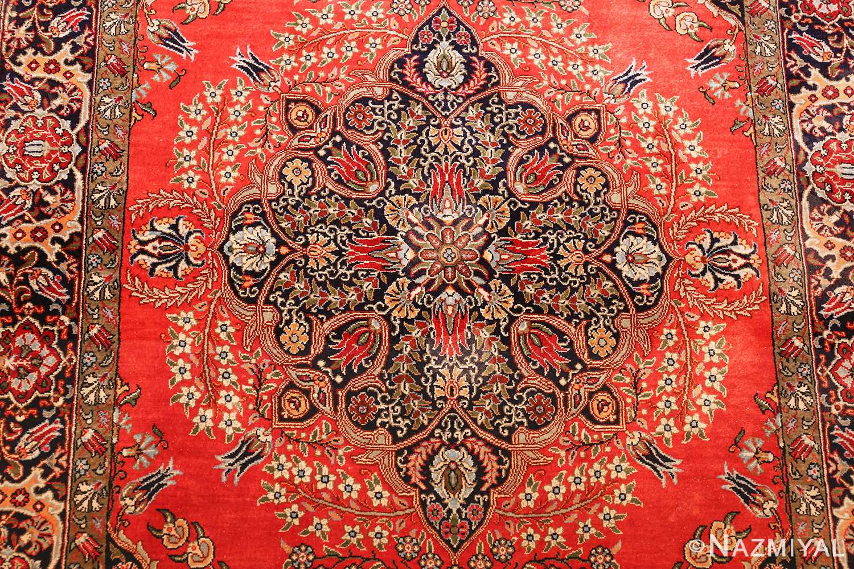 vintage silk qum persian rug 49247 medallion Nazmiyal