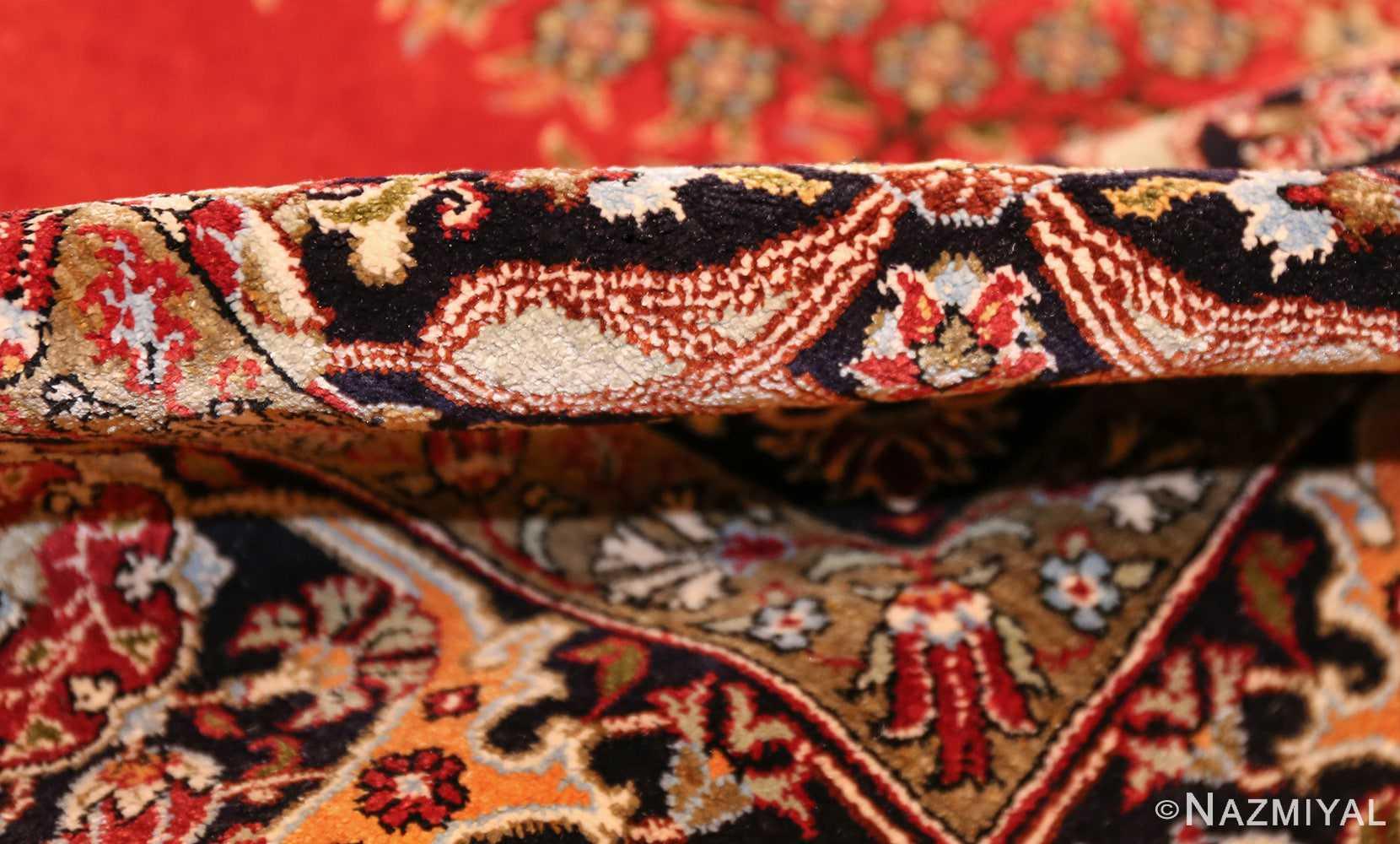 vintage silk qum persian rug 49247 pile Nazmiyal