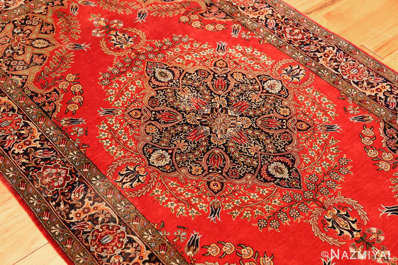 vintage silk qum persian rug 49247 side Nazmiyal