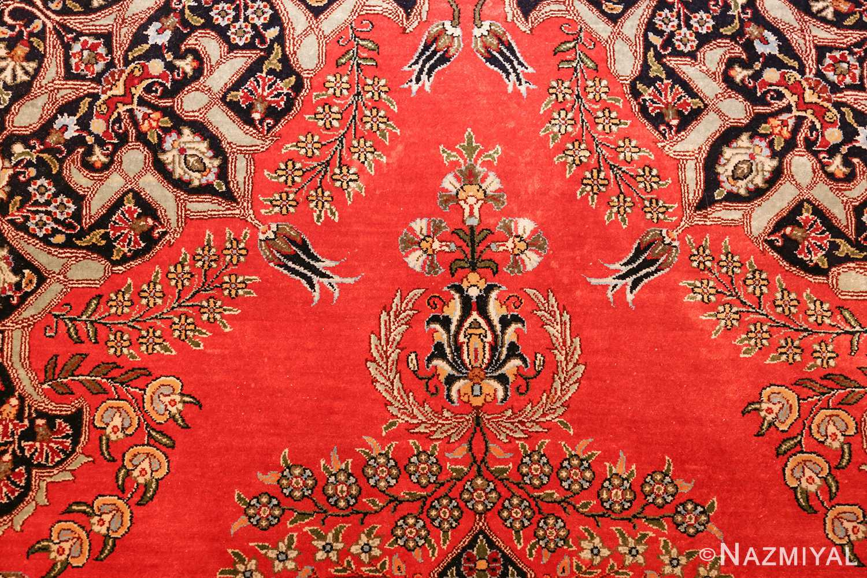 vintage silk qum persian rug 49247 top Nazmiyal