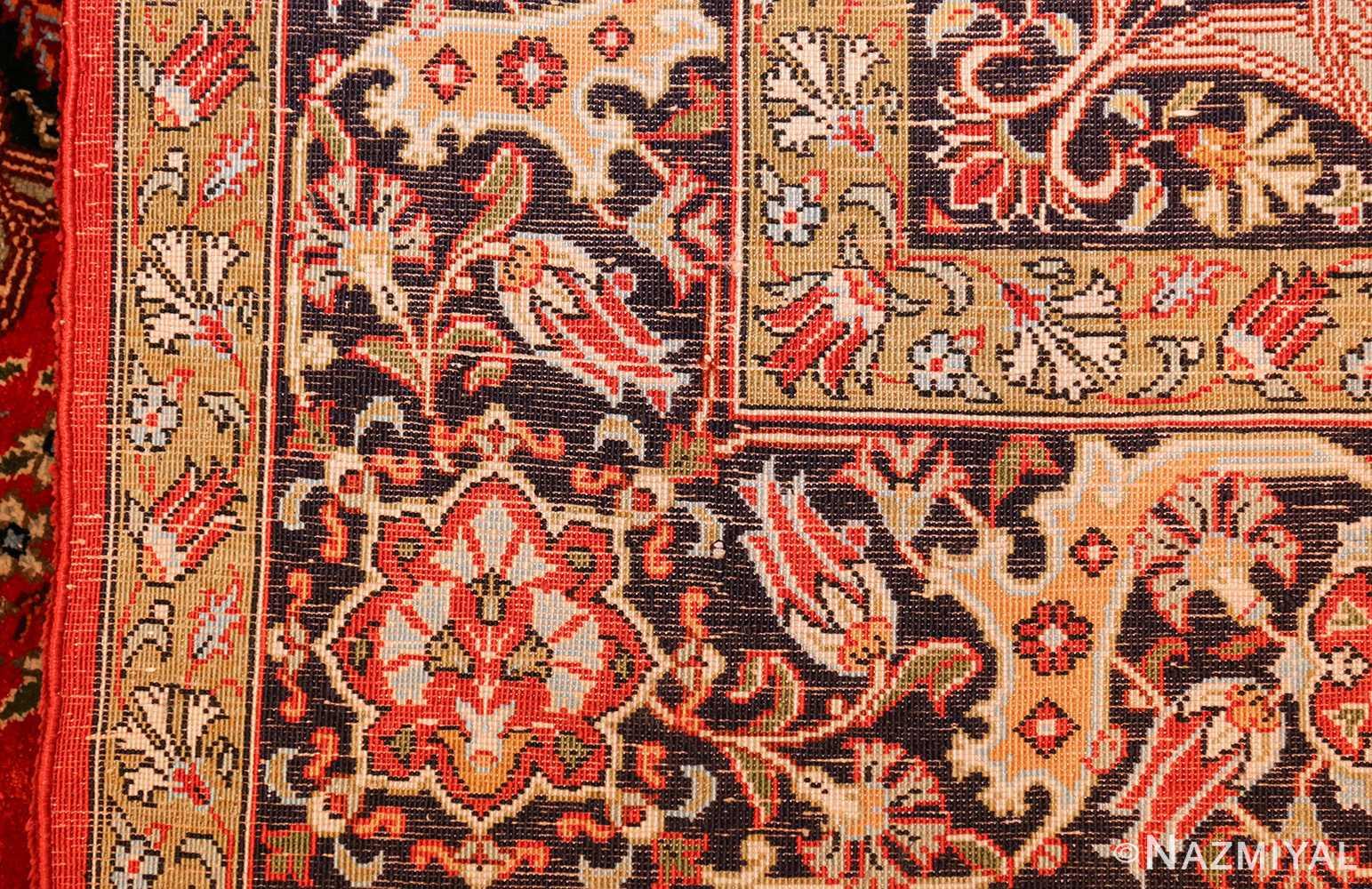vintage silk qum persian rug 49247 weave Nazmiyal