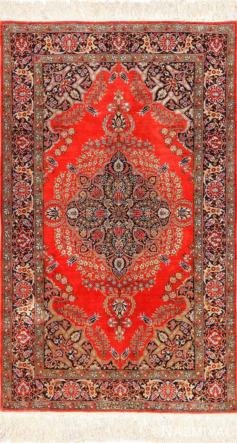 vintage silk qum persian rug 49247 Nazmiyal