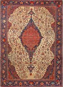 antique ivory background sarouk farhan persian rug 51094 Nazmiyal