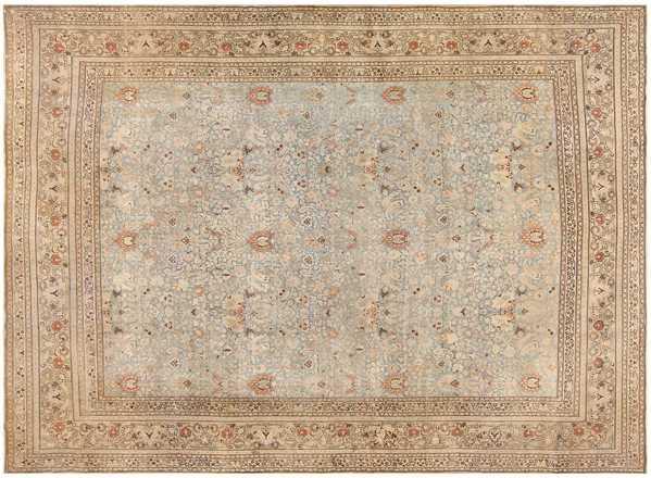 Sky Blue Antique Khorassan Persian Carpet, Nazmiyal