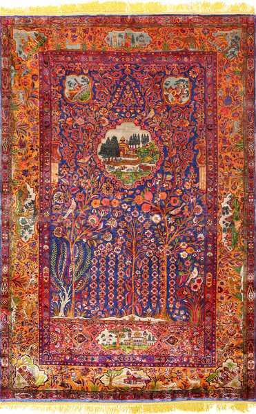 Antique Tafazoli Silk Kashan Persian Rug, Nazmiyal