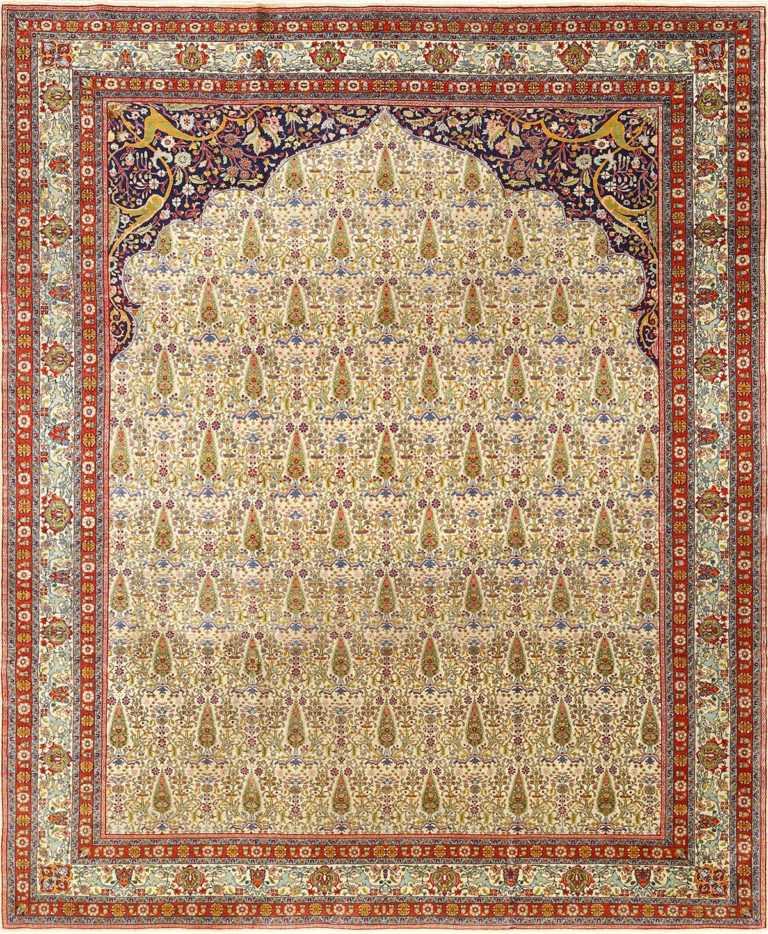 antique prayer design tabriz persian rug 51111 Nazmiyal