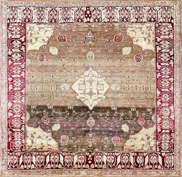 Rare Antique Silk Indian Agra Rug, Nazmiyal