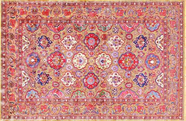 Fine Antique Silk and Metalic Thread Persian Souf Kashan Rug, Nazmiyal