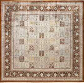 fine square garden design silk qum persian rug 51084 Nazmiyal