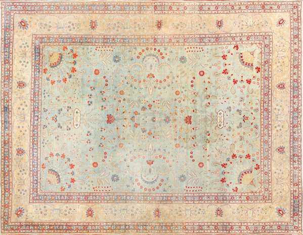 Light Blue Antique Persian Tabriz Rug, Nazmiyal