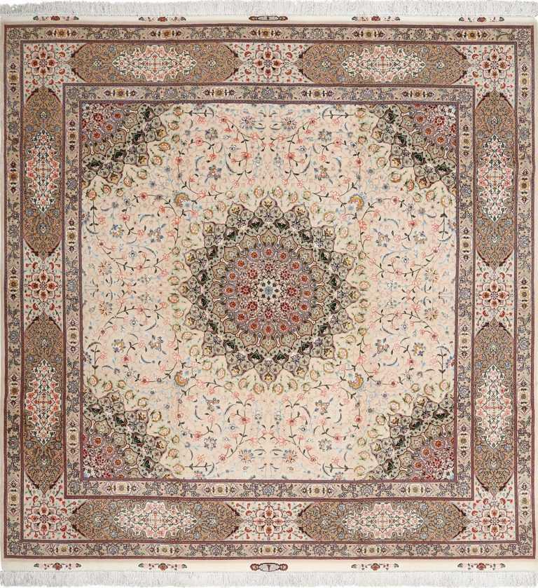 square shahsavarpour design vintage tabriz persian rug 51076 Nazmiyal
