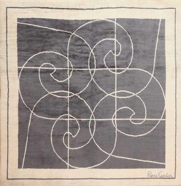 Square Size Mid Century Pierre Cardin Vintage Rug, Nazmiyal