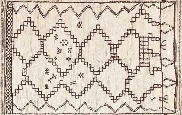 Vintage Ivory and Brown Moroccan Rug, Nazmiyal
