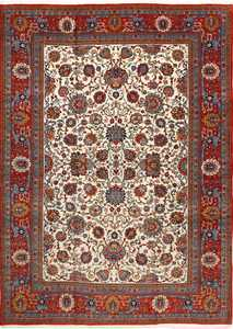 vintage ivory qum persian rug 51091 Nazmiyal