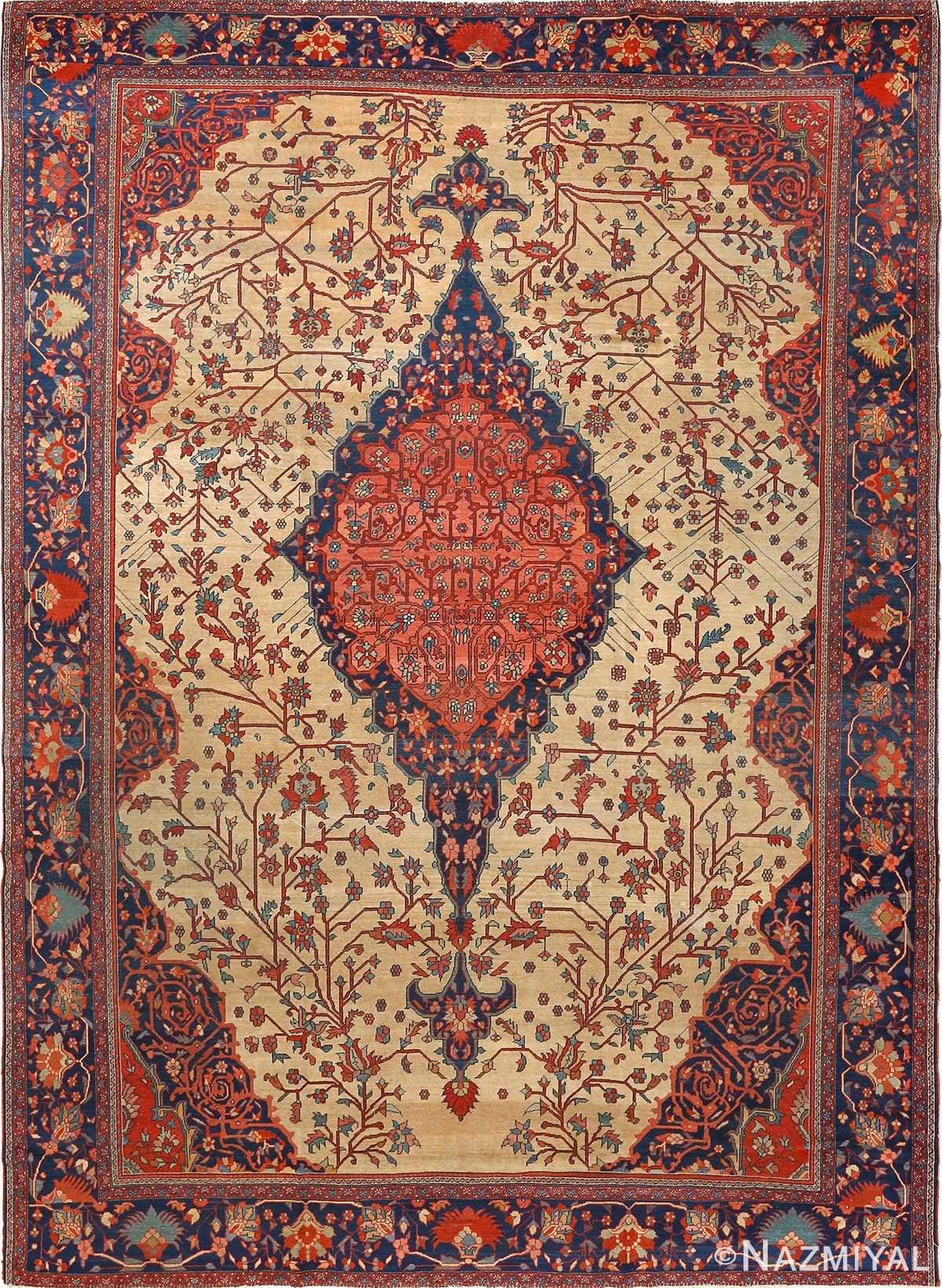 antique ivory background sarouk farhan persian rug 51094 Nazmiyal
