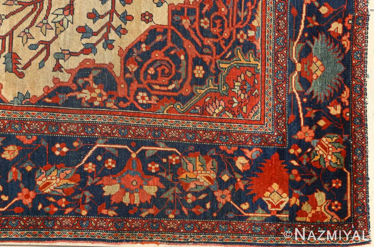 antique ivory background sarouk farhan persian rug 51094 corner Nazmiyal