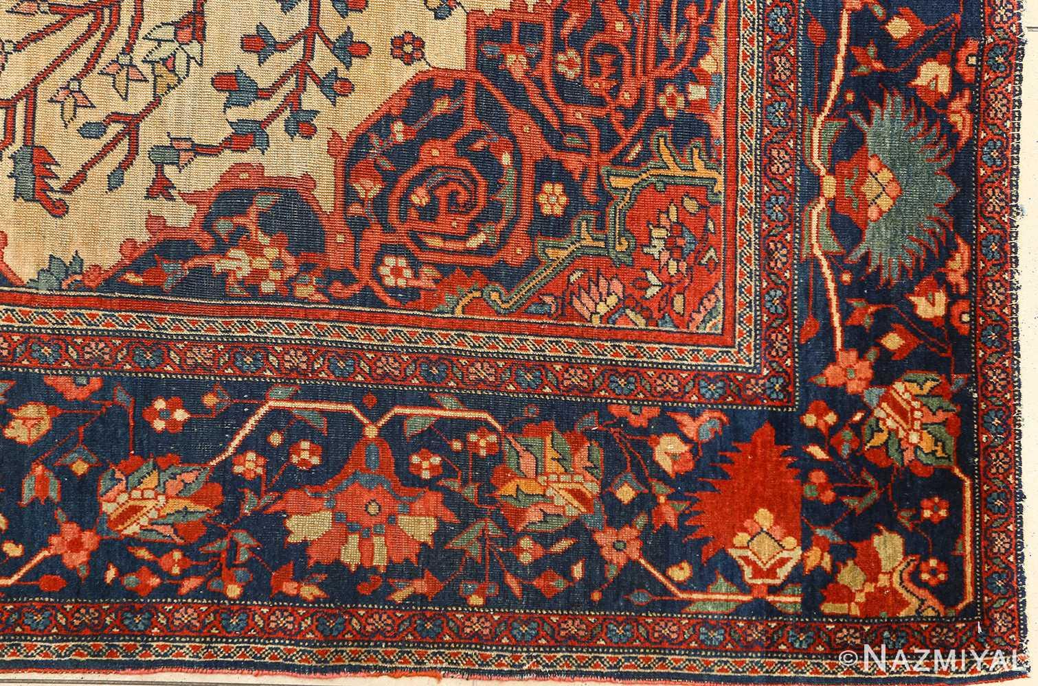 antique ivory background sarouk farhan persian rug 51094 corner Nazmiyal