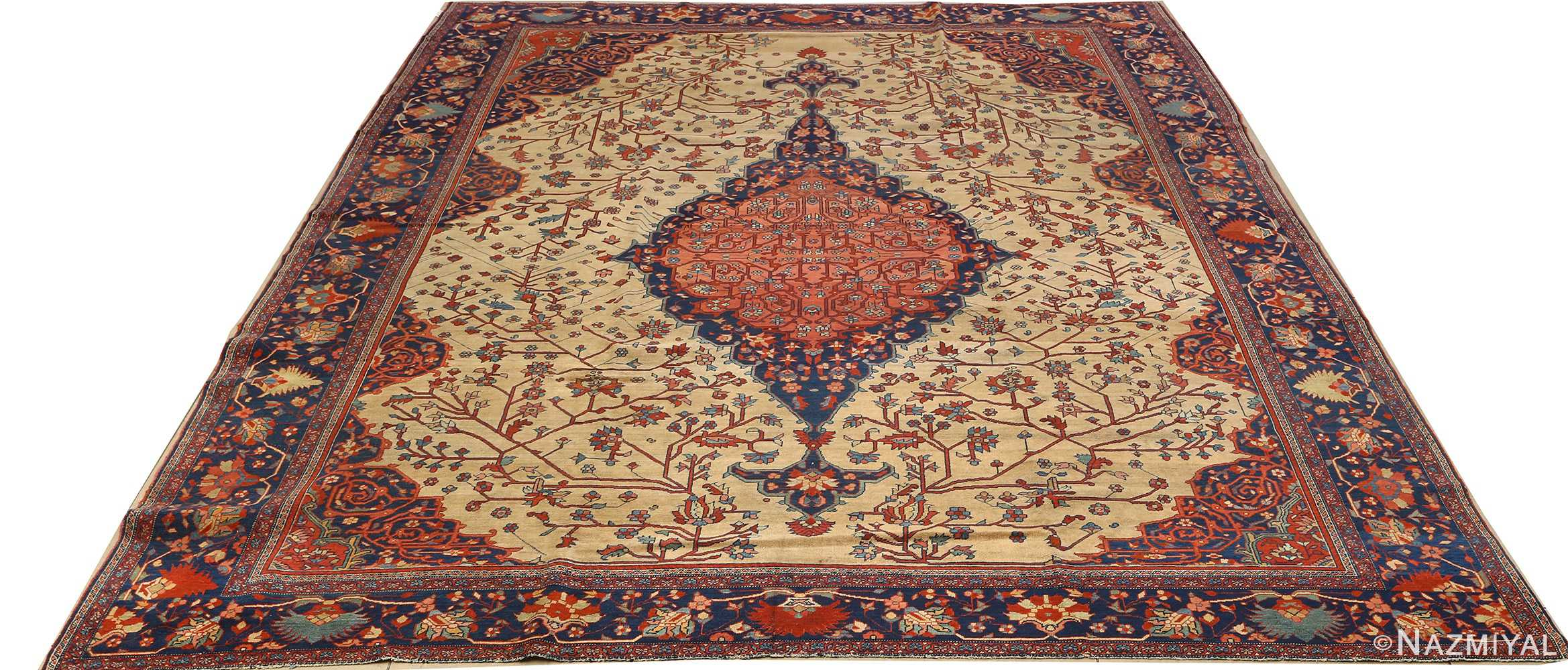 antique ivory background sarouk farhan persian rug 51094 full Nazmiyal