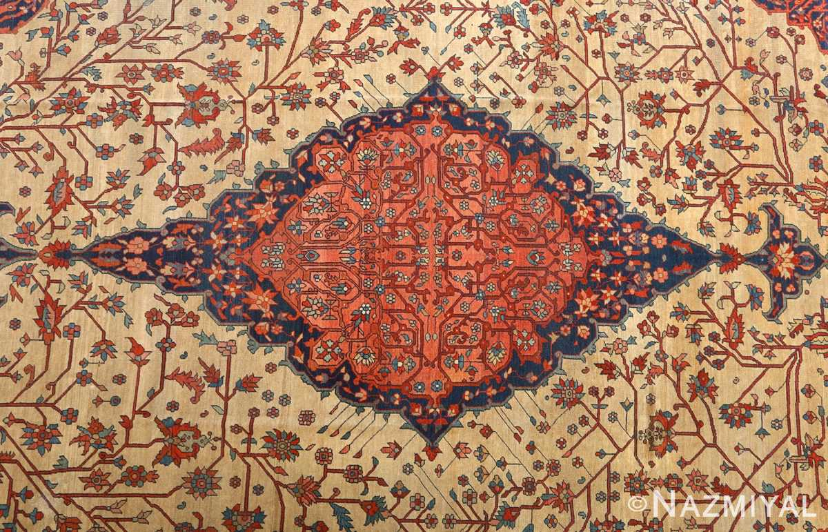 antique ivory background sarouk farhan persian rug 51094 medallion Nazmiyal