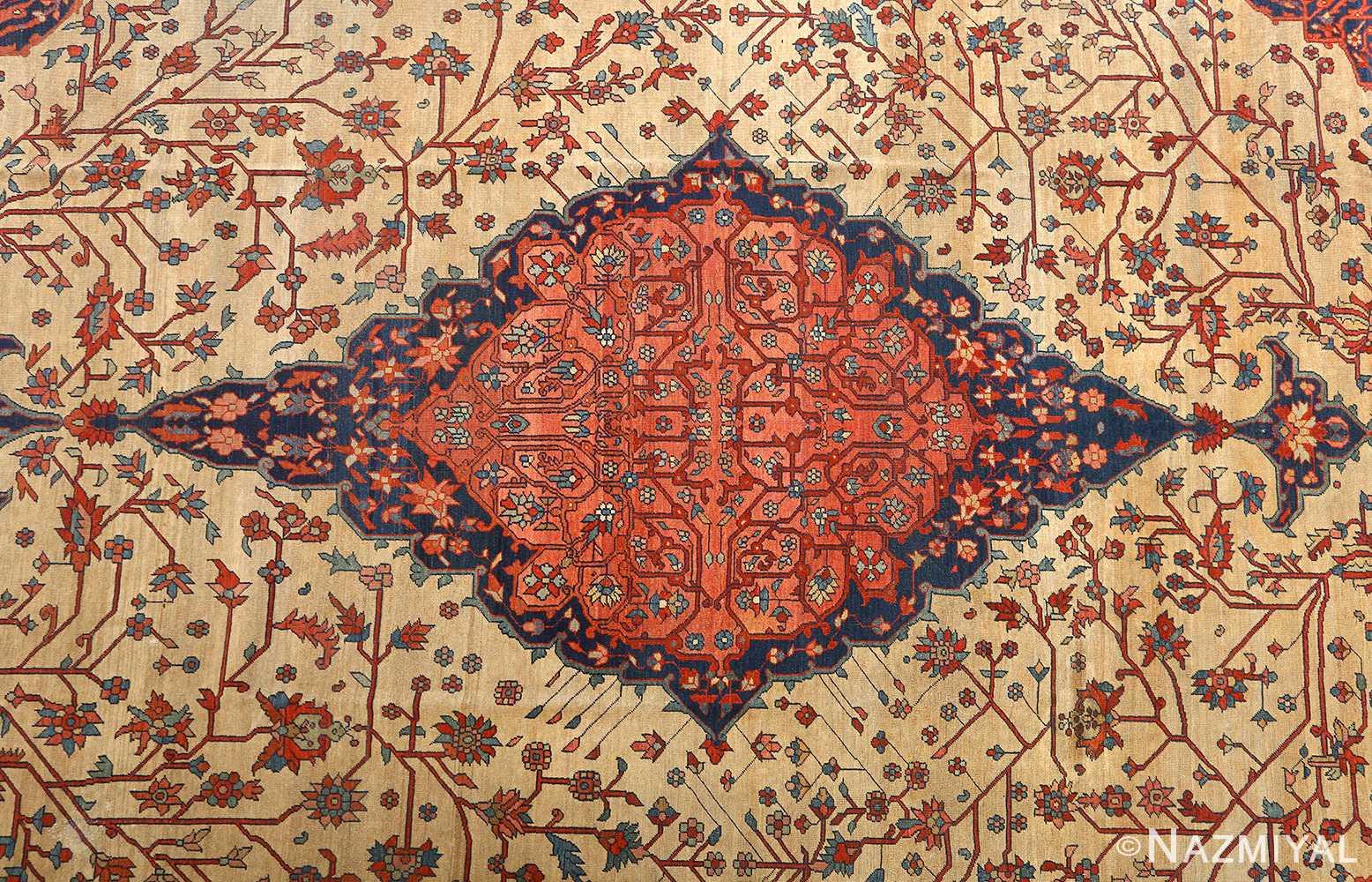 antique ivory background sarouk farhan persian rug 51094 medallion Nazmiyal