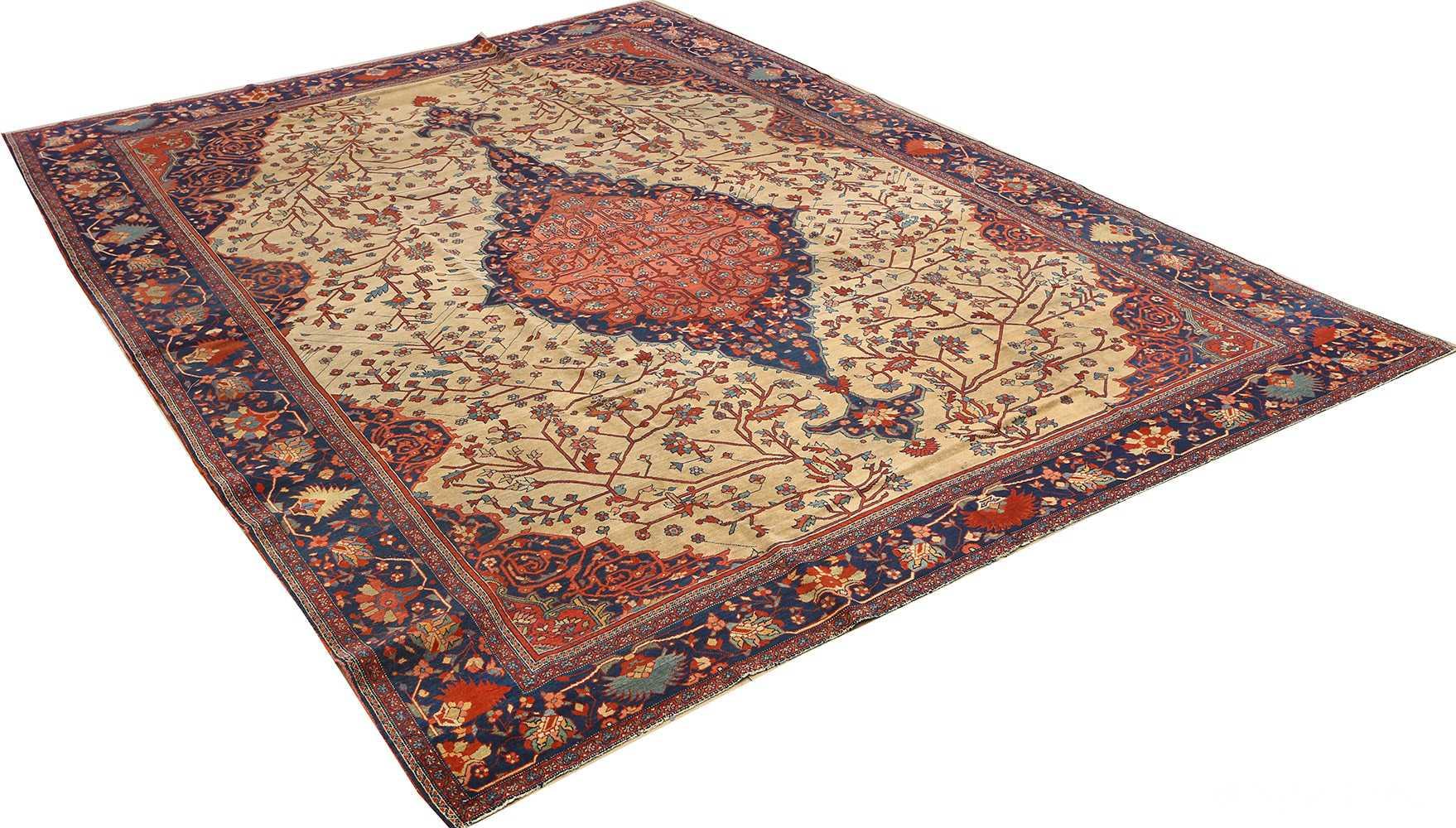 antique ivory background sarouk farhan persian rug 51094 side Nazmiyal