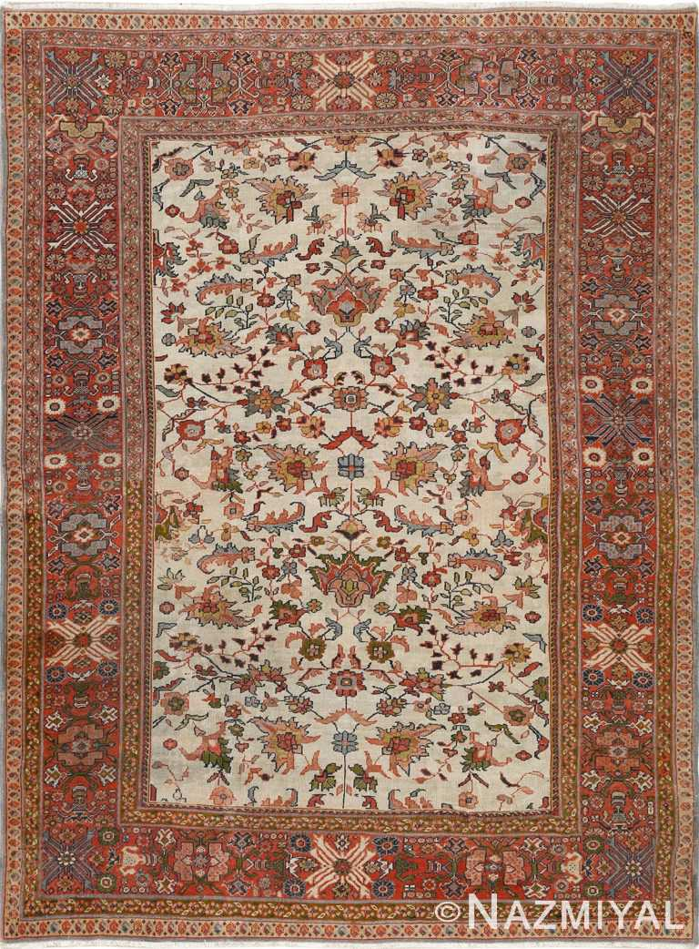 antique ivory background sultanabad persian rug 51101 Nazmiyal
