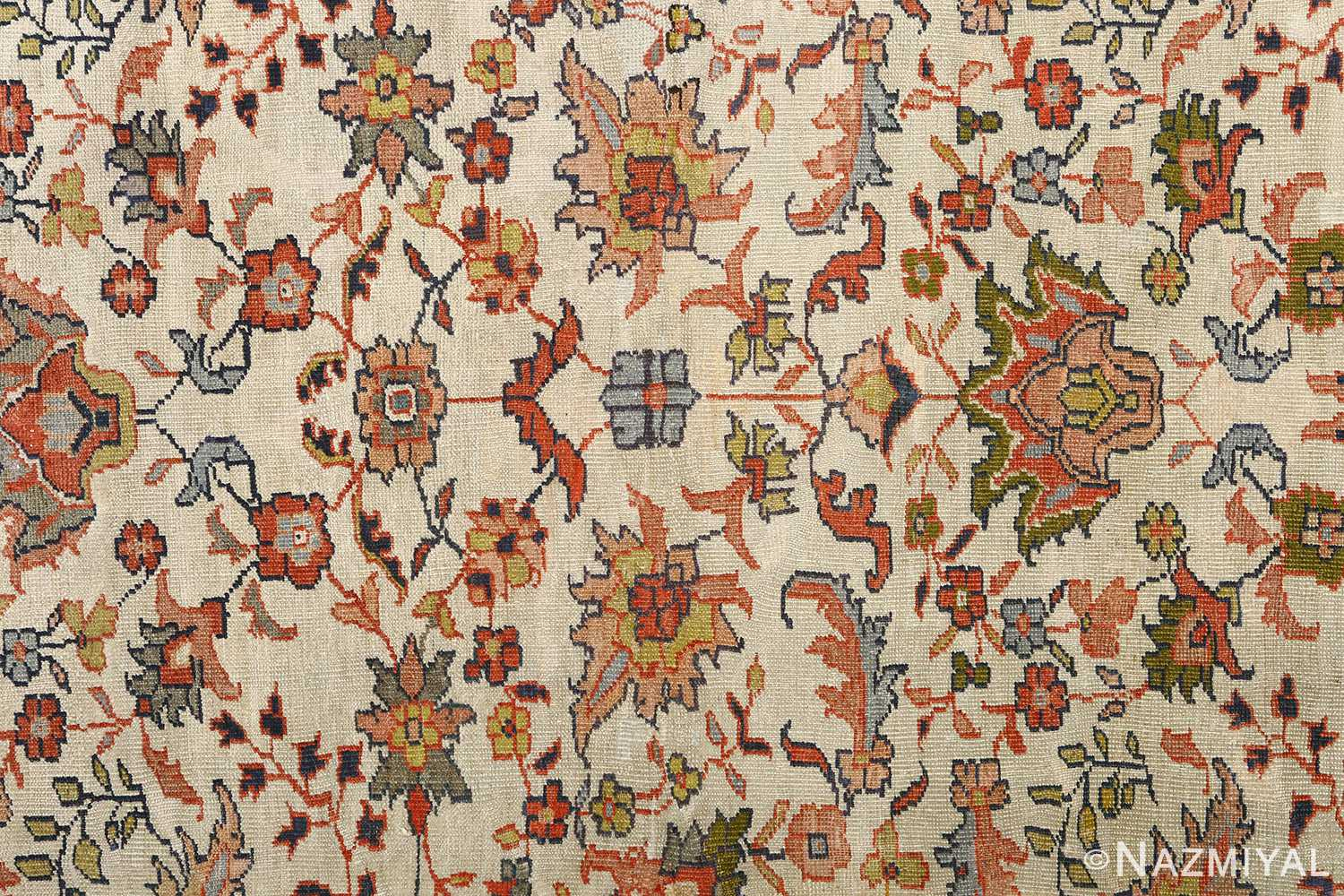 antique ivory background sultanabad persian rug 51101 field Nazmiyal