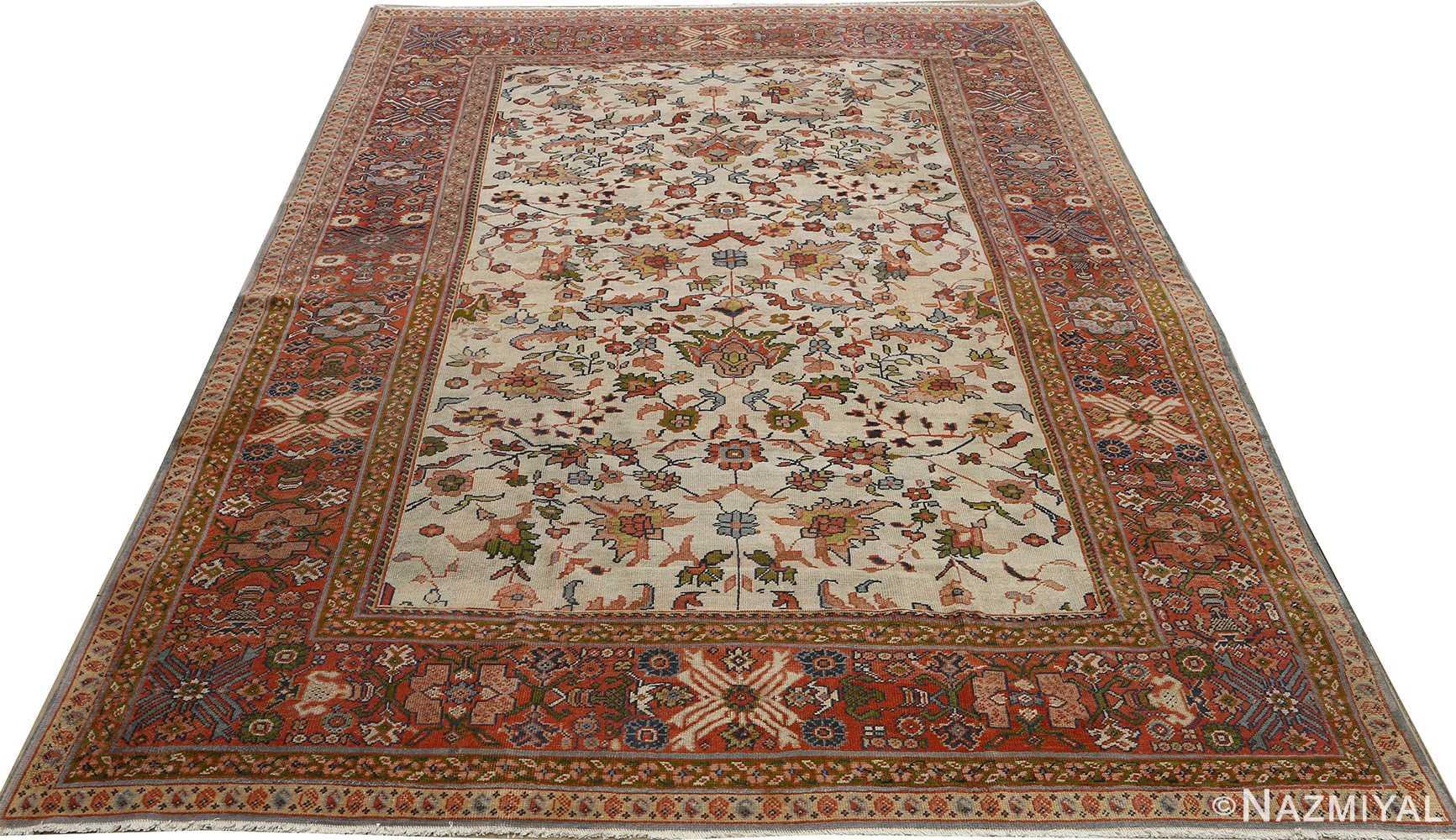 antique ivory background sultanabad persian rug 51101 full Nazmiyal