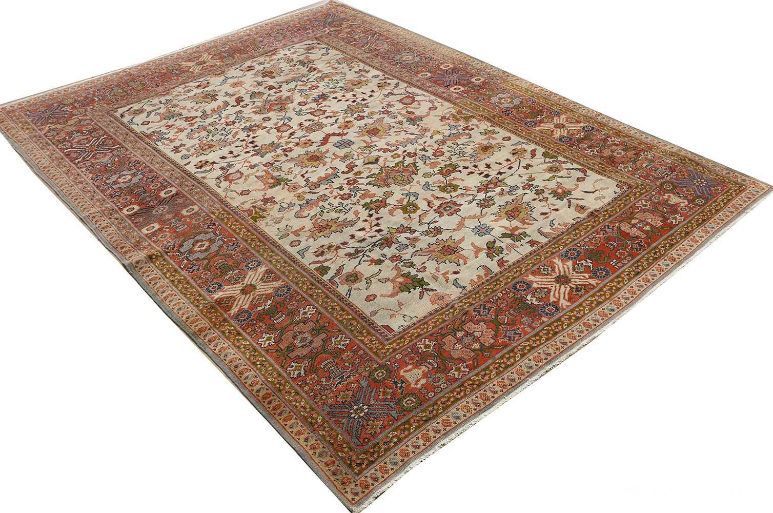 antique ivory background sultanabad persian rug 51101 side Nazmiyal