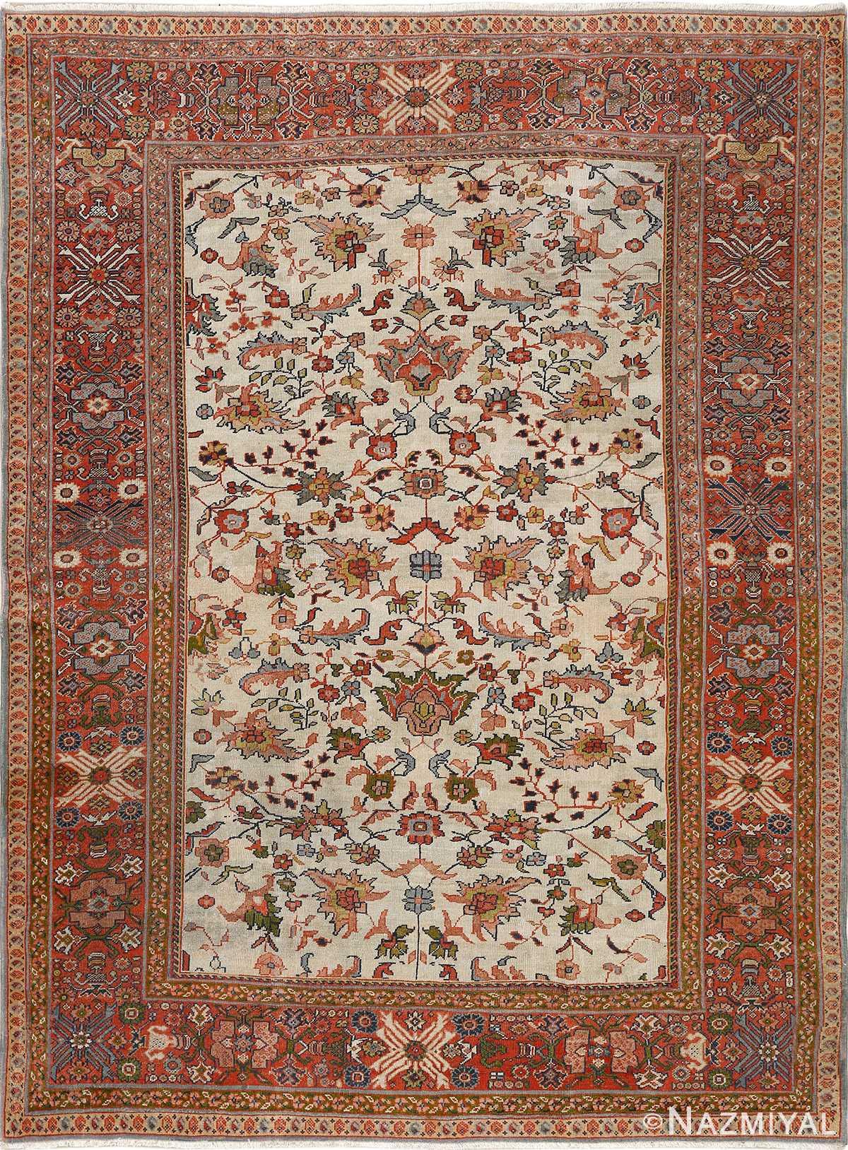 antique ivory background sultanabad persian rug 51101 Nazmiyal