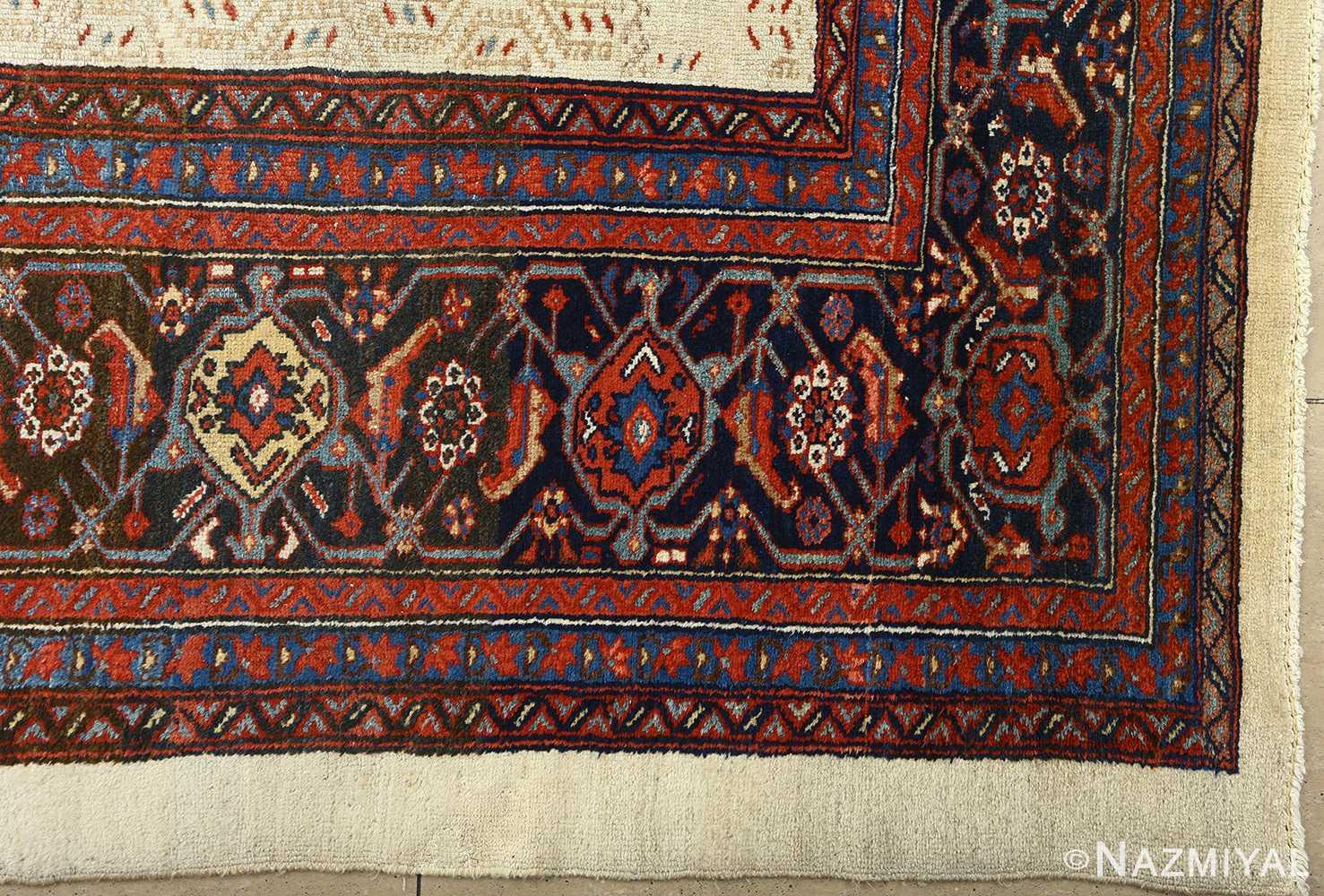 antique ivory senneh persian rug 51097 corner Nazmiyal